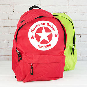 Personalised Star Children's Rucksack - back to school