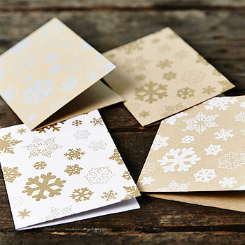 Recycled Metallic Snowflakes Christmas Cards