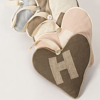 Personalised Linen Lavender Love Hearts