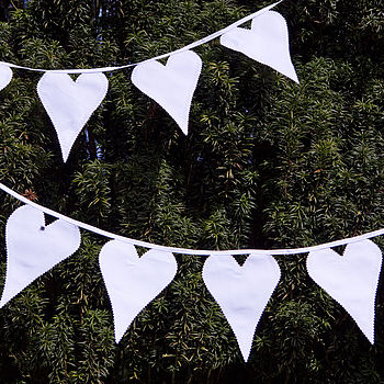 White Wedding Heart Fabric Bunting