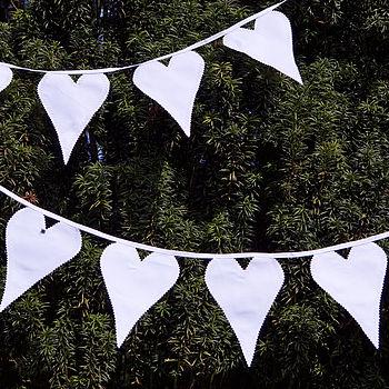 White Wedding Heart Fabric Bunting