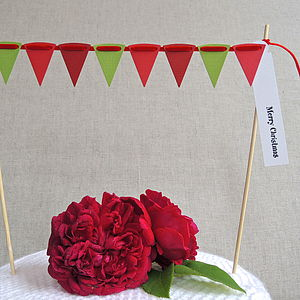 Christmas Cake Bunting With Greeting Label - christmas decorations