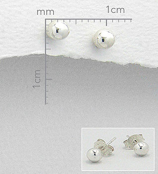 Round Sterling Silver Stud Earrings