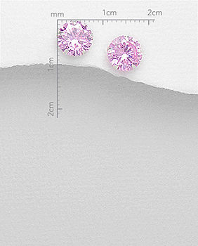 Round CZ Sterling Silver Stud Earrings