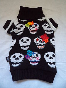 Day Of The Dead Skull Embroidered Dog Jumper - fancy dress