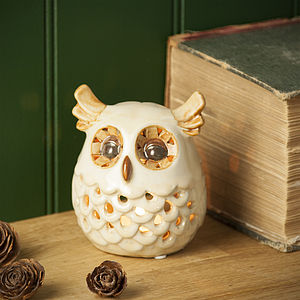Ceramic Owl Tea Light Holder - lights & candles