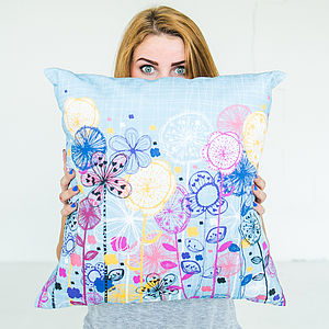 Quirky Floral Stems Cushion Cover - cushions