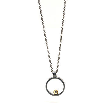Oxidised Silver With Gold Ball Mini Pendant