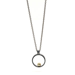 Oxidised Silver With Gold Ball Mini Pendant - necklaces & pendants
