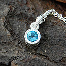 Sterling Silver Blue Topaz Dot Pendant