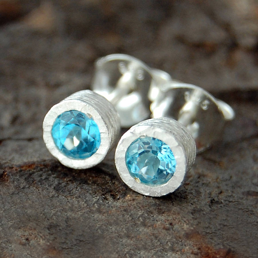 Blue Topaz Dot Silver Stud Earrings