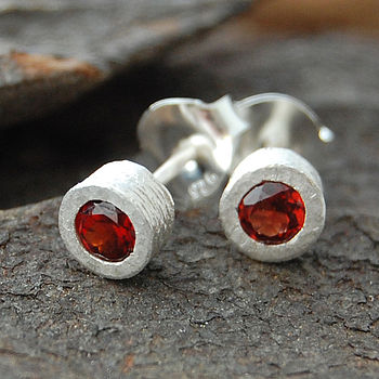 Sterling Silver Garnet Dot Stud Earrings