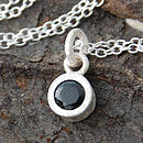 Sterling Silver Black Spinel Dot Pendant