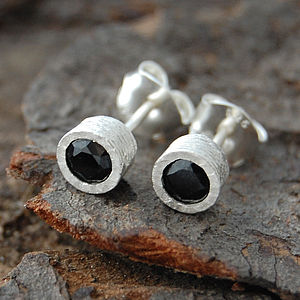 Textured Sterling Silver Black Spinel Round Studs
