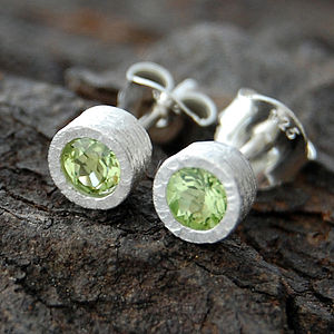Sterling Silver Peridot Birthstone Dot Stud Earrings - women's jewellery
