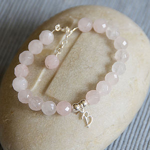 Personalised Rose Quartz And Silver Bracelet - bracelets & bangles