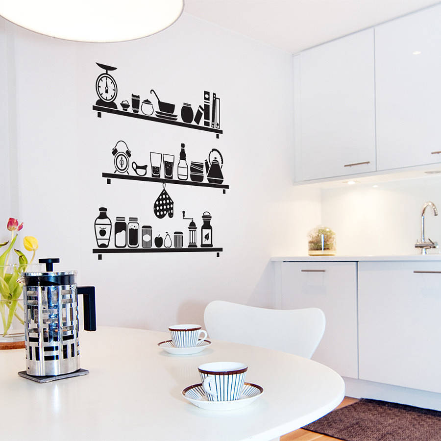 Scandinavian kitchen shelves wall sticker by sirface graphics - Decorative wall sticker ...