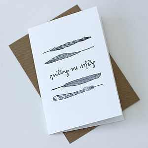 Feather Illustration Letterpress Card