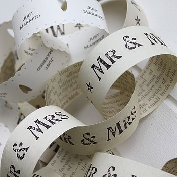 Vintage Wedding 'Just Married' Paper Chains