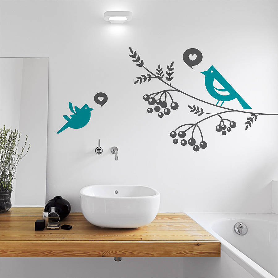 Lovebirds and tree branch wall sticker by sirface graphics ...