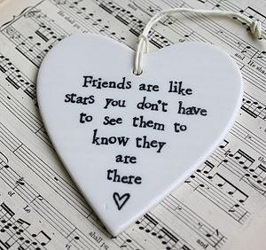 'Friends Are Like Stars' Ceramic Heart - outdoor decorations