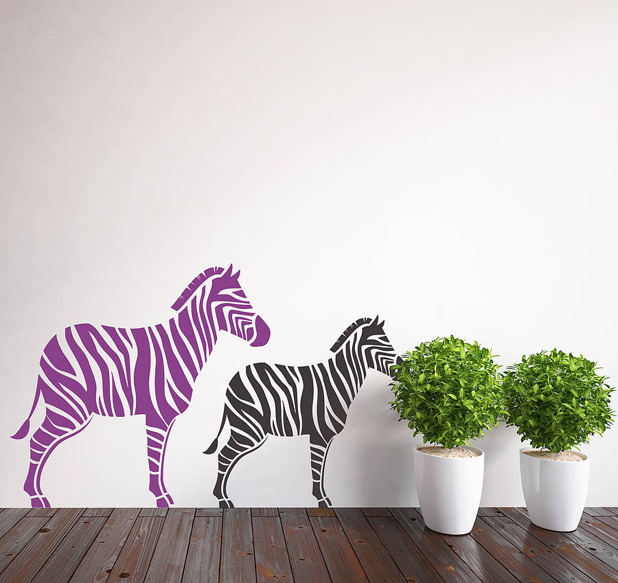Pair Of Zebra Wall Stickers