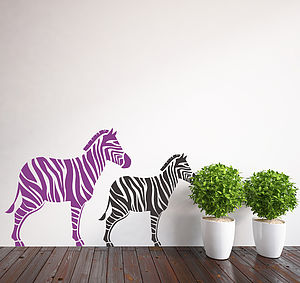 Pair Of Zebra Wall Stickers - wall stickers