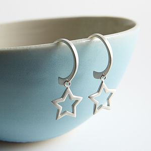 Silver Star Earrings - earrings