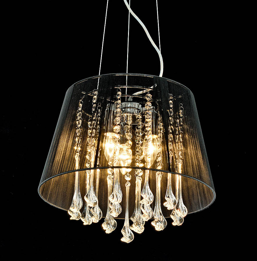 chandelier with black shade and crystal drops  chandeliers design, Lighting ideas