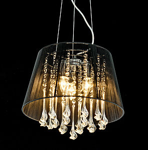 Shaded Crystal Drop Chandelier - pendant lights
