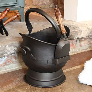 Footed Coal Bucket With Shovel - fireplace accessories