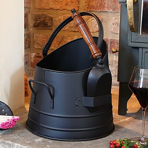 French Coal Bucket With Shovel - fireplace accessories