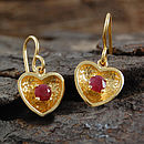 Gold And Ruby Heart Earrings
