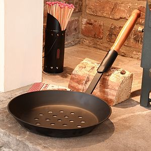 Large Chestnut Roasting Pan - fireplace accessories
