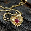 Gold And Ruby Heart Pendant