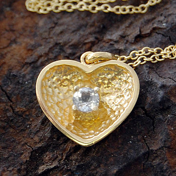 Gold And White Topaz Scoop Heart Pendant