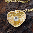 Gold And White Topaz Scoop Heart Necklace