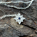 Silver And Blue Sapphire Star Pendant