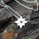 Silver And Red Sapphire Star Pendant
