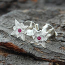 Red Sapphire Silver Star Stud Earrings