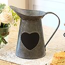Antique Zinc Heart Message Jug