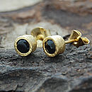 Gold And Black Spinel Dot Stud Earring