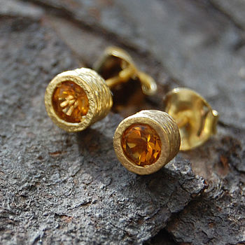 Gold And Citrine Stud Earrings