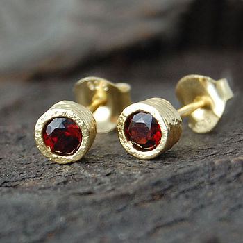 Gold And Garnet Dot Stud Earrings