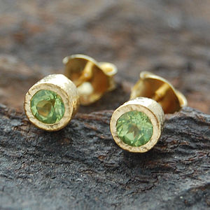 Gold And Peridot Dot Stud Earrings - earrings