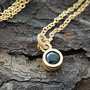 Gold And Black Spinel Dot Pendant