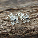 Silver And Blue Sapphire Clover Stud Earrings