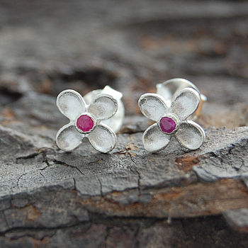 Red Sapphire Silver Clover Stud Earrings