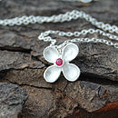 Silver And Red Sapphire Clover Pendant