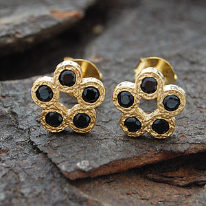 Gold And Black Spinel Rosette Stud Earrings - earrings